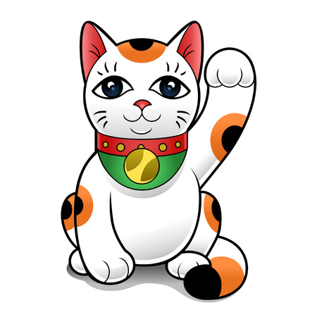 Japanese traditional character - Maneki Neko on a white background  Vector