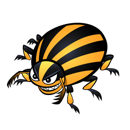 escarabajo: Estilo de dibujos animados de risa escarabajo colorado en el fondo blanco