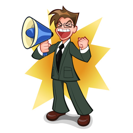 loudly: businessman with megaphone Illustration