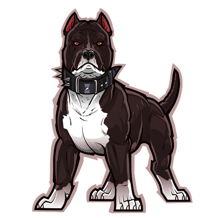 fierce: Black pitbull Illustration