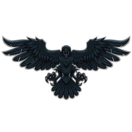 Stylized flying black raven