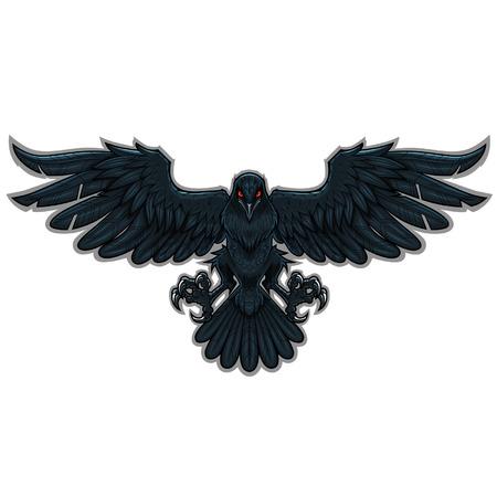 Stylizowane czarny kruk latający