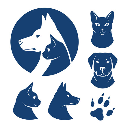 Cat and dog symbols Vector