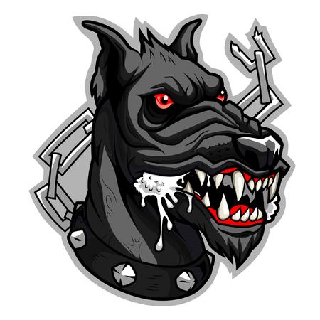 wścieklizna: Mad czarny pies Ilustracja