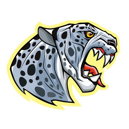 leopard head: Snow leopard head