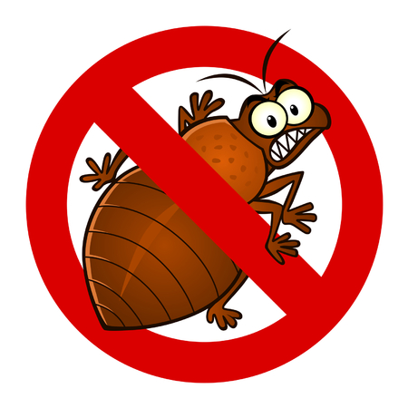 cartoon bug: anti bedbug sign