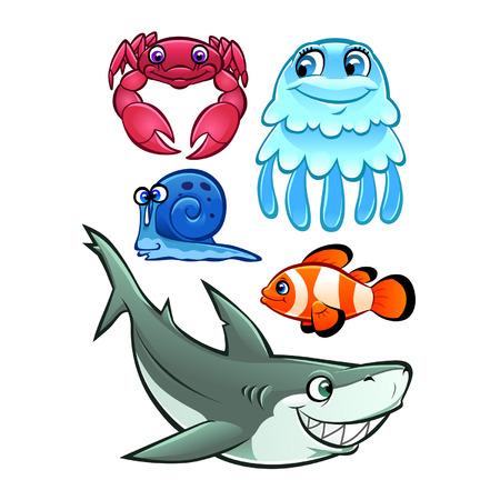 cangrejo caricatura: Cangrejo de la historieta, medusas, caracoles, peces payaso y el tibur�n Vectores