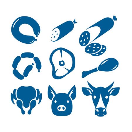 salami: signos de los alimentos de carne Vectores
