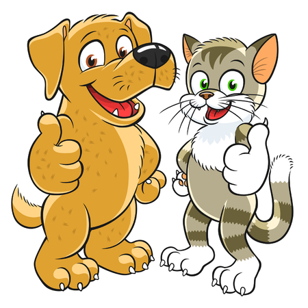 puppy and kitten: pets gesturing thumb up