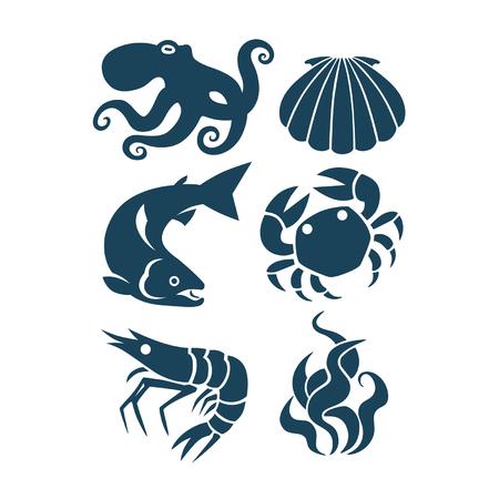 la vida marina y los iconos de los alimentos