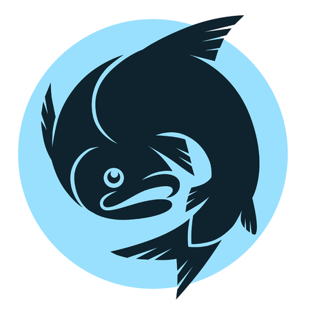 fishing silhouette: abstract fish sign