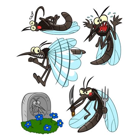 asustado: conjunto de mosquitos Vectores