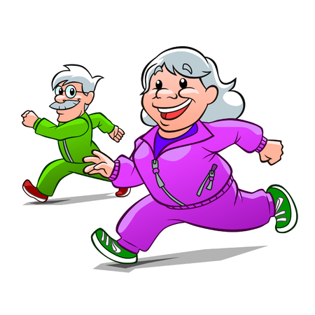 sport cartoon: Eldery athletes  Illustration