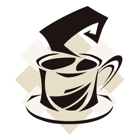 abstractionism: s�mbolo de la taza de caf� Vectores