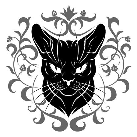 black cat face decoration Vector