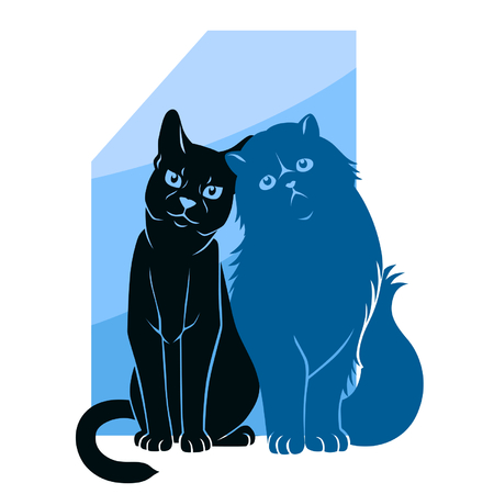 longhaired: Two abstract cats