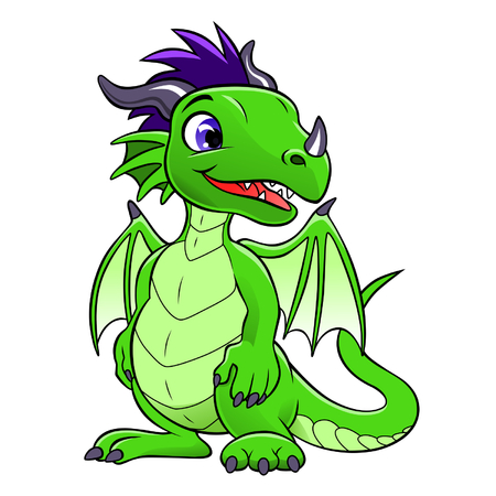 green cute dragon Иллюстрация