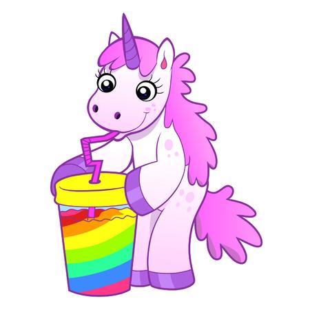 unicorn drinks rainbow cocktail Vector