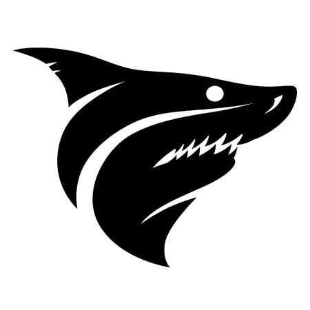 deadly danger sign: Shark head sign Illustration