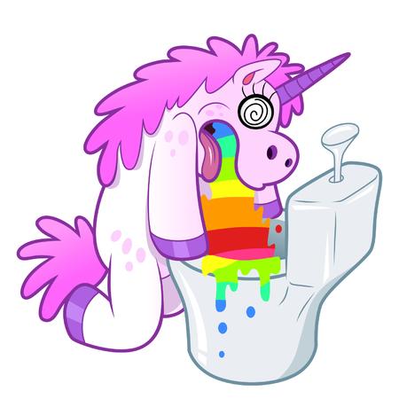 Eenhoorn pukes regenboog in het toilet Stock Illustratie