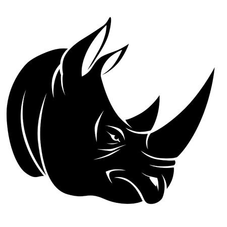 tattoo face: Rhino head Illustration