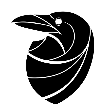 crow: Stylized raven head Illustration