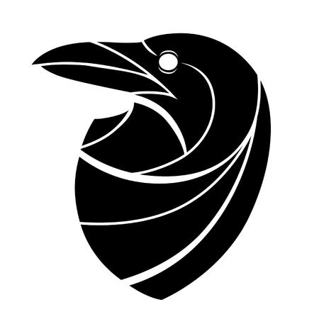 head wise: Stylized raven head Illustration