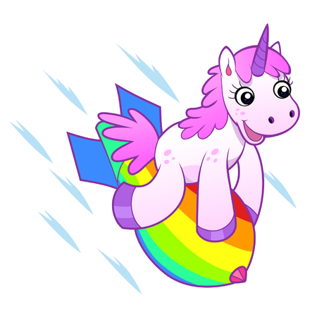 Unicorn on rainbow bomb Stock Illustratie