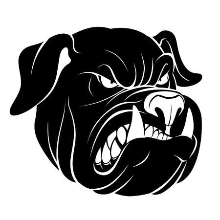 spiteful: Bulldog head monochrome Illustration