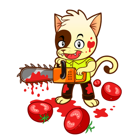 maniac: Tomato maniac kitten Illustration