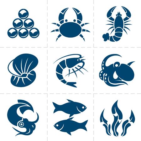 Seafood icon set  イラスト・ベクター素材