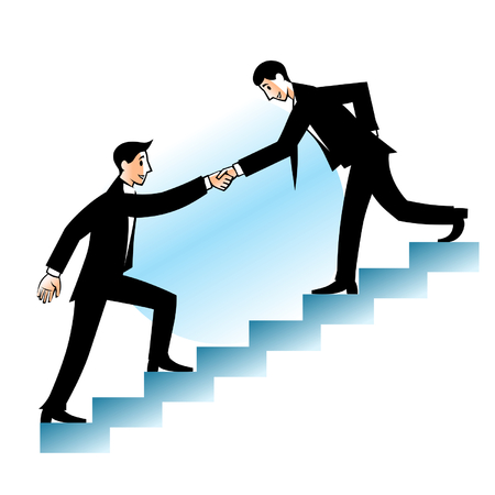 Businessman helping to go up