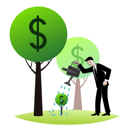 growing money: Growing money trees Illustration