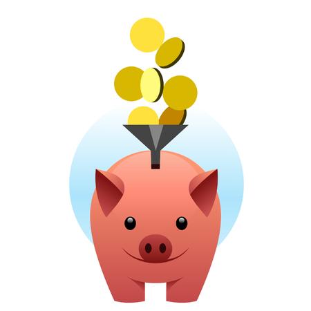 Piggy bank catches coins Vektorové ilustrace