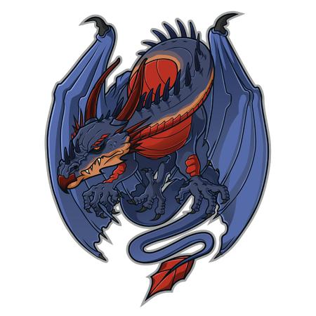 winged: Cartoon western dragon Illustration