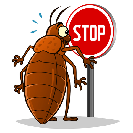 Stop pest illustration with a funny cartoon bedbug Vectores