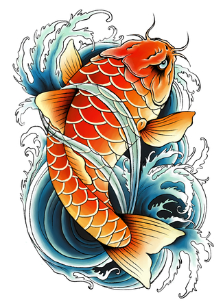 tattoo art: Asian carp painting Stock Photo