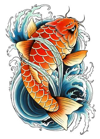 carpa: Pintura carpa asi�tica Foto de archivo
