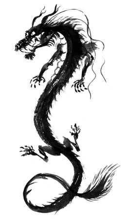 e ink: Asian Dragon Painting