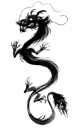 sumi e: Black Asian Dragon Painting