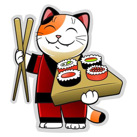 chopstick: Sushi cat Illustration