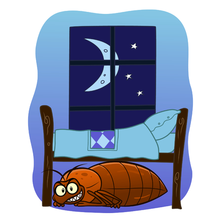 cartoon insect: Bedbug under your bed Illustration