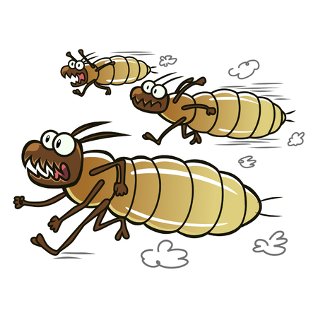 cartoon ant: Running termites