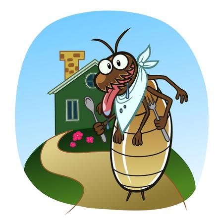 hormiga caricatura: Termitas ir a la casa Vectores