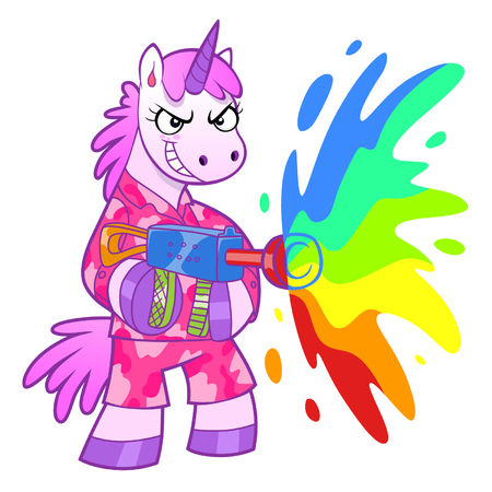 wacky: Unicorn soldier shooting from a rainbow cannon. Illustration