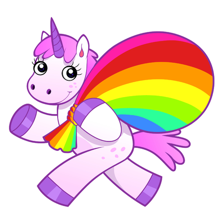 Unicorn with rainbow bag 일러스트