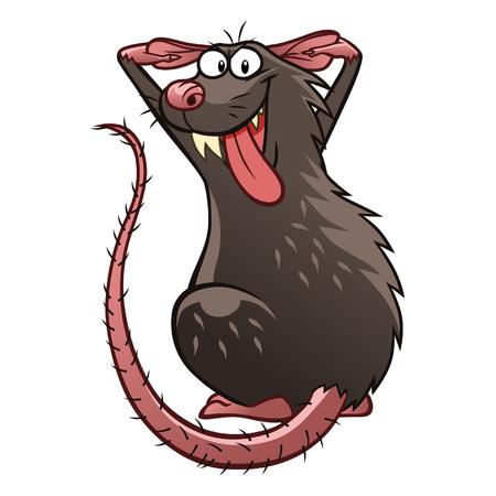 rata caricatura: Tomadura de pelo de rata Vectores