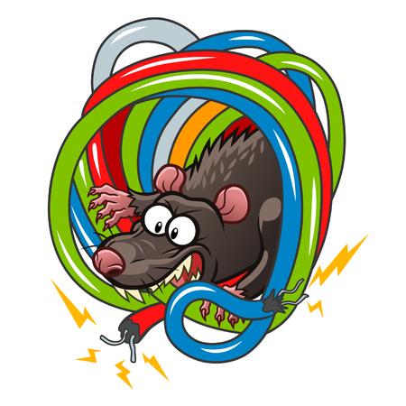 電線をかじるネズミ