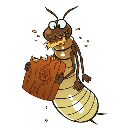 Termite eats wood