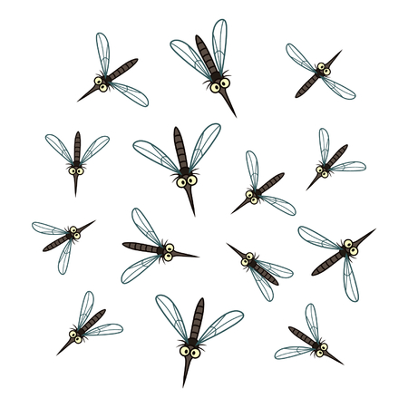 mosquitoes: Mosquitoes flock Illustration